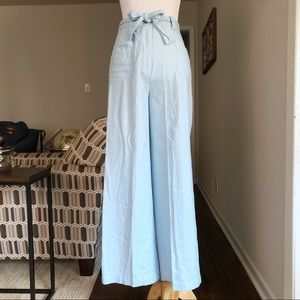 Vintage Blue Linen High Rise Paper Bag Trousers